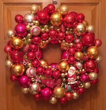 "Vintage Handmade 20"" Pink & Gold Christmas Ornament Wreath w/Shiny Brite, Japan"