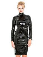 Honour Women's Pencil Dress in Black PVC Longsleeved Outfit High Collar