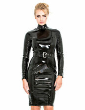 Honour Women's Pencil Dress in Black PVC Longsleeved Outfit With High Collar 3xl