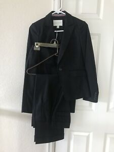 Banana Republic Black Work Suit Set Jacket Pant Dress Cotton Size 0