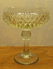 vintage light green diamond pattern compote