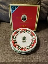 SPODE CHRISTMAS TREE 2007 RED RIBBON LIMITED EDITION 6-IN. CANAPE PLATES.