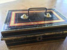 Rare Vintage c1925 Metal Cash Money Box Tin Moneybox Brass Handle Tole Ware