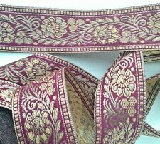 """Flowers Plum Red Gold Jacquard Trim Lace Ribbon Embroidered 1 1/2"""" Vestment Usa"""