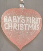 Baby's First Christmas Heart Glass Christmas Ornament Pink Girl Decoration New