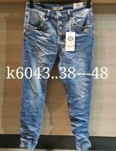 KAROSTAR Damen Boyfriend Baggy Jeans Hose Basic Knöpfe Knopfleiste 38/40-48 NEU