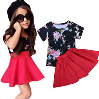2PCS Kids Baby Girl Floral Dress Outfit Tops T-Shirt+Tutu Skirt Set Clothes 0-5Y