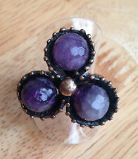 Stunning Chunky 3 Stone Ring Amethyst Gemstones Size: 8 / P