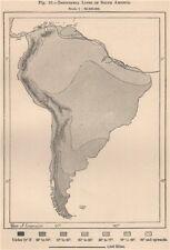 Isotérmico líneas de América del Sur 1885 cuadro de plan de Mapa Antiguo Vintage Antiguo