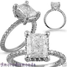11.8 ct GIA VS natural radiant cut diamond engagement micro pave ring white gold