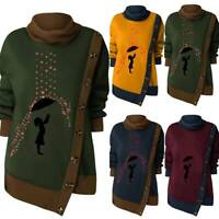 Womens Cowl Neck Sweater Sweatshirt Pullover Jumper Winter Irregular Blouse Tops