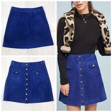 Anthropologie Button Front Mini Skirt Leather New Woman Size 14