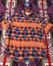 Ralph Lauren Denim Supply Aztec Navajo Shirt XL Light Cotton Short Sleeve