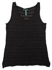 Ralph Lauren Black Shell Lace Knit Stitch Tank Top Sweater Sz.L NWT $135 CHIC!