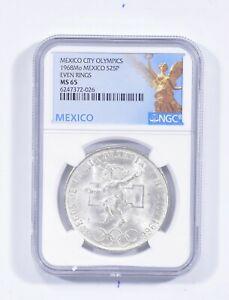 1968 MEXICO 25 Pesos Silver - Even Rings NGC MS65 *618