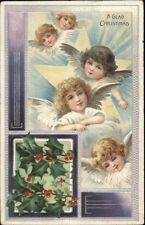 Christmas - Angels w/ Wings Under Faces c1910 Postcard