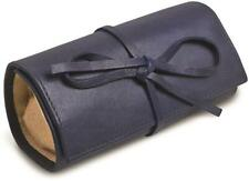 Blue Leather Tie Jewelry Roll