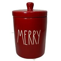 """Rae Dunn Christmas Holiday LL """"MERRY"""" Small Jar/Canister Bathroom Red;White Font"""
