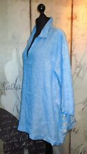 TAHARI : NEW Turquoise Blue Lagenlook Tunic/4 Button Side Vents : Size 24/26