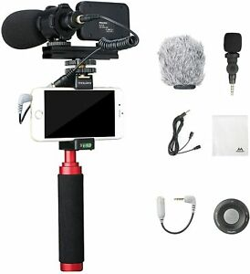 Mouriv PV-1 Kit Video For Smartphone With Grip Rig Microphones LED Control Rem
