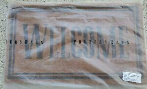 "Pottery Barn 20"" x 34"" Welcome Door Mat Classic Coir Vinyl Backing Brown NEW"
