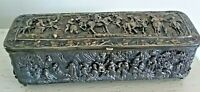 Antique French Gilt Brass and Bronze High Relief Jewelry Box Casket
