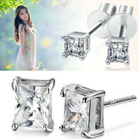 Fashion Womens Unisex Solid White Gold Plated Square CZ Mens Ear Stud Earrings