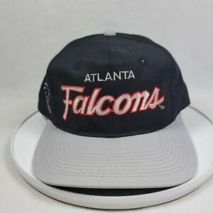 Vintage Atlanta Falcons Sports Specialties Script Spellout Black Snapback Hat