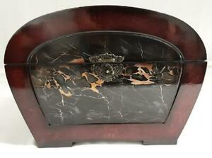 Black marbled effect Lacquer box with hinged lid and clasp with deep red edges