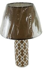 """Ceramic 18"""" Table Lamp and Shade Round Beige Finish Night Stand Counter U/L"""