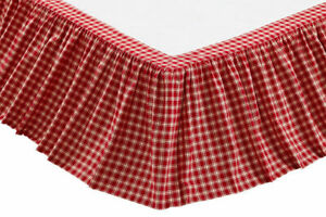"""Plaid Red Creme Queen Gathered Bed Skirt 60x80x16"""" Drop Farmhouse / Country"""