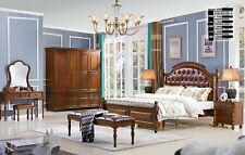 Chesterfield Leather Antique Style Set 3tlg. Real Wood 2 Night Table Bed Bedroom