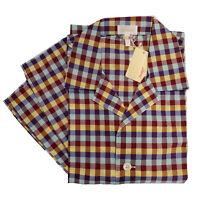 Brioni Men's Multi Color Check Pajamas Woven Cotton Short Bottoms