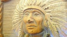 VINTAGE RELIEF OF A INDIAN CHIEF WITH HIS TRIBE TRADITIONAL COSTUME AND WEAPONS