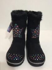 New Skechers Black Zip Up Fur Ribbon Silver Lights/Wear On GirlsKids Boots Sz 10