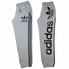 Da Uomo Adidas Originals Track Bottoms Pile Sudore Pantaloni lineare Grigio Taglia Med