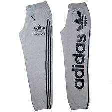 Mens Adidas Originals Track Bottoms Fleece Sweat Pants Linear Grey Size MED
