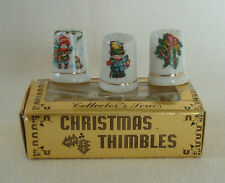 Vintage Christmas THIMBLES Sewing Porcelain DRUMMER BOY TINY TIM BELLS BOW HOLLY