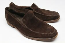 Tods Sues Moc Toe Venetian Loafers 8 Brown Suede Leather Slip On Shoes Italy