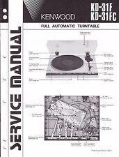 Original Vintage Kenwood KD-31F KD-31FC  Turntable Service Manual