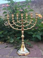 "Jerusalem Menorah 10"" Inch Height Brass 7 Branches Menorah Jewish Israel Judaica"