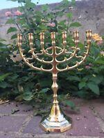"Jerusalem Menorah 10"" Inch Height Brass 7 Branches Menorah Jewish Israel Judaica"