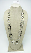 "New 34"" Long Shiny Silver Tone Classic Circle Link Necklace NWT $28 #N2536"