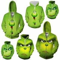 Grinch Hoodies 3D Full Face Sweater Sweatshirt Jacket Pullover Tops Coats Unisex