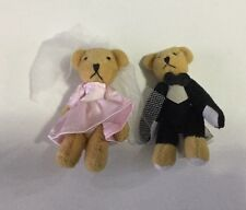 ~~ Set Of Mini Teddy Bears Bride And Groom Wedding Gown Tuxedo