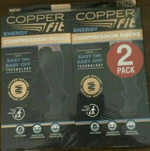 Copper Fit Energy BLACK Compression Socks Unisex Size MEN 9-12 WOMEN 10-13