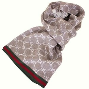 GUCCI Italy 'GG Guccissima Monogram' Unisex 100% Wool Scarf Coffee / Ivory *NWT*