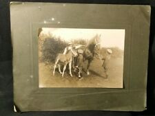 Sepia Photo Showing Horses Children with Farm Hand in WW1 Army Officer Uniform