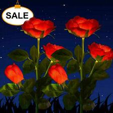 2X Solar Power Rose Flower Garden Stake Landscape Lights Fairy Outdoor Yard Lamp