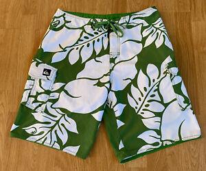 Green Hawaiian Jungle Rainforest Fern Flower Quiksilver Cargo Surf Board Shorts